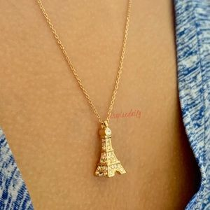 @inspiredaily Jewelry - Gold Tone Clear Crystal Eiffel Tower Necklace